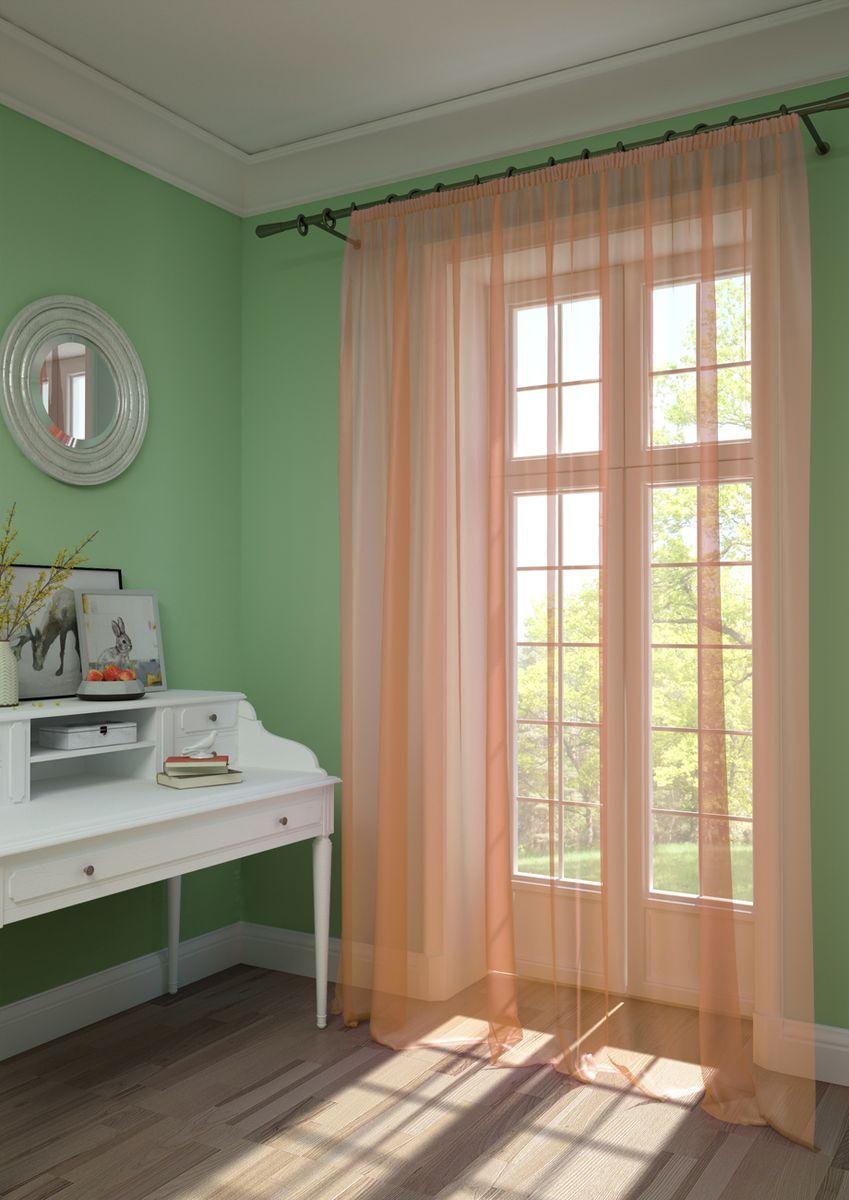 Штора KauffOrt Нелли, на ленте, цвет: светлый абрикос, высота 275 см3111720173Штора Kauffort, выполненная из нежной вуали (100% полиэстер), станет великолепным украшением любого окна. Оригинальный дизайн и приятная цветовая гамма привлекут к себе внимание и органично впишутся в интерьер помещения. Штора оснащена шторной лентой для красивой сборки.
