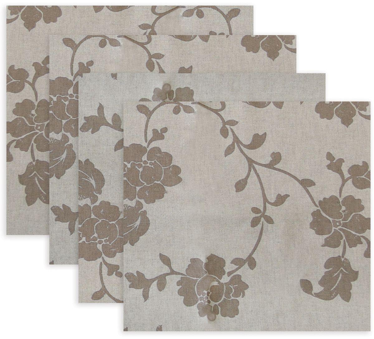 Набор сервировочных салфеток KauffOrt Прованс, цвет: коричневый, 32 х 32 см, 4 шт
