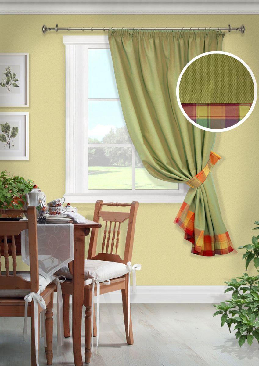 Штора для кухни KauffOrt Монэ, на ленте, цвет: зеленый, ширина 136 см, высота 175 см штора kauffort кардинал на ленте ширина 300 см высота 270 см