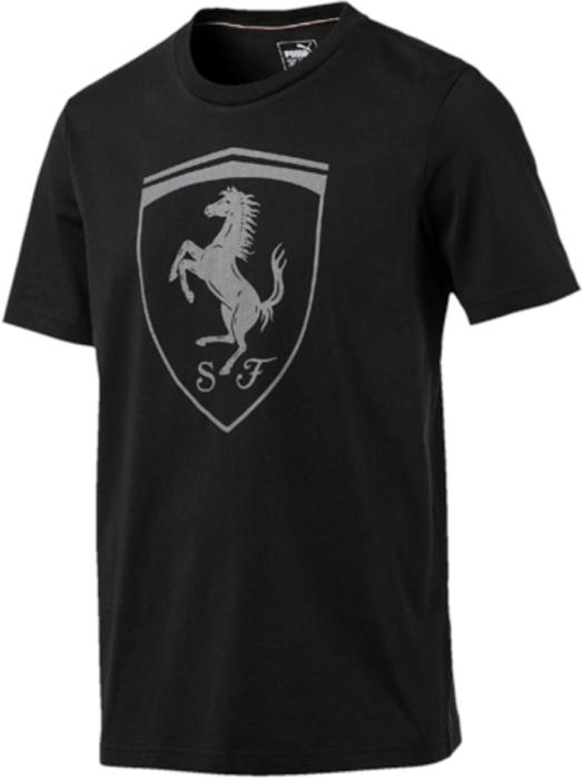 Футболка мужская Puma Ferrari Big Shield Tee, цвет: черный. 57346701. Размер L (48/50)57346701Модель декорирована прорезиненной эмблемой Ferrari, набивной надписью Ferrari с прорезиненными элементами, а также набивным логотипом Puma с прорезиненными деталями. Отделка сзади выполнена контрастной тесьмой.