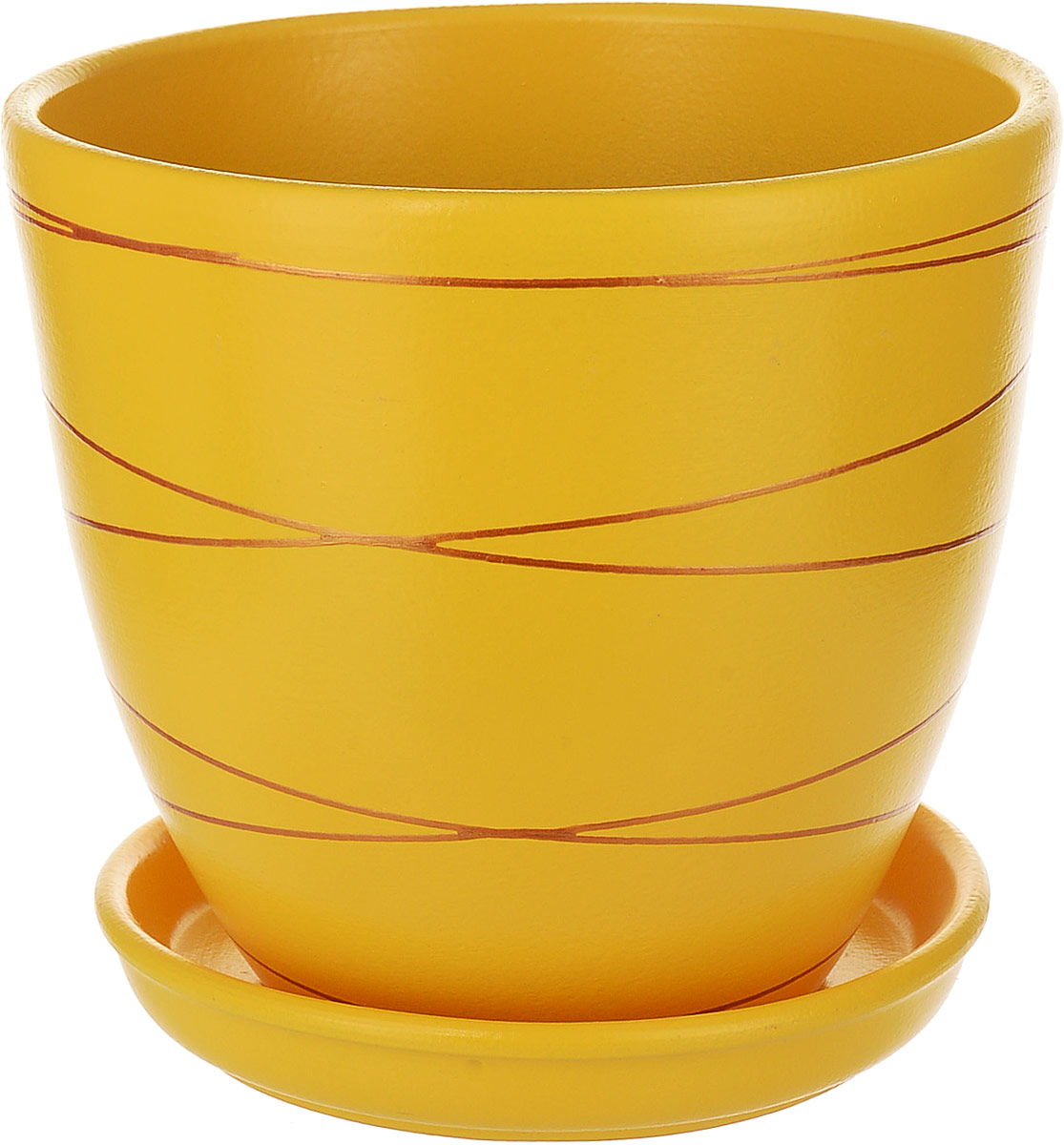 Горшок цветочный Engard, с поддоном, цвет: желтый, 2,4 л. BH-25-2BH-25-2Керамический горшок Engard - это идеальное решение для выращивания комнатных растений и создания изысканности в интерьере. Керамический горшок сделан из высококачественной глины в классической форме и оригинальном дизайне.Объем: 2,4 л.