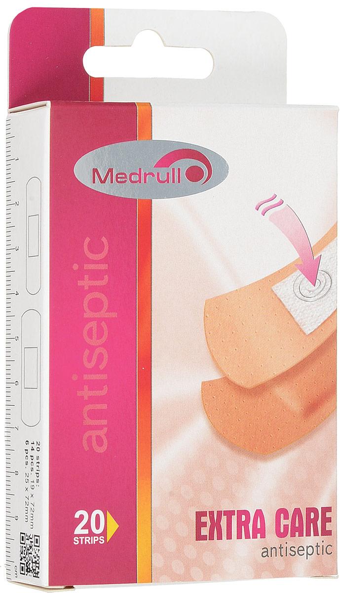 Medrull Набор пластырей Extra Care, №204742225003300Благодаря особенностям абсорбирующей подушечки, обработанной антисептическим веществом, эти пластыри помогут защитить рану от размножения бактерий и микроорганизмов. Рекомендовано использовать только после дезинфекции раны. Пластыри изготовлены из тонкого, перфорированного, полимерного материала.Свойства пластыря: водонепроницаемые, грязенепроницаемые, гипоаллергенные, эластичные, дышащие, плотно прилегающие. Абсорбирующая подушечка изготовлена из вискозы и обладает высокой впитываемостью. Верхняя часть подушечки обработана полипропиленом, что защищает от вероятности прилипания пластыря к поврежденной поверхности кожи. Пропитана антисептическим веществом - Cetyl pyridinium chloride 0.15%.Уважаемые клиенты! Обращаем ваше внимание на возможные изменения в дизайне упаковки. Качественные характеристики товара остаются неизменными. Поставка осуществляется в зависимости от наличия на складе.