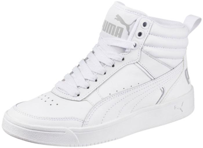 Кеды для девочки Puma Rebound Street V2 L Jr, цвет: белый. 36391302. Размер 6 (38)36391302Кеды PUMA Rebound Street v2 - классическая модель завышенных кед, пришедшая в коллекцию универсальной уличной обуви из мира баскетбола и получившая новую жизнь. Кожаный верх плотно охватывает ногу, создавая полную поддержку. Пружинящая прочная резиновая подошва с волнистым рельефом обеспечивает свободу движений даже при резких поворотах на скользкой поверхности. Завышенный задник с броским логотипом PUMA усиливает защиту пятки и придает модели спортивный и динамичный облик.