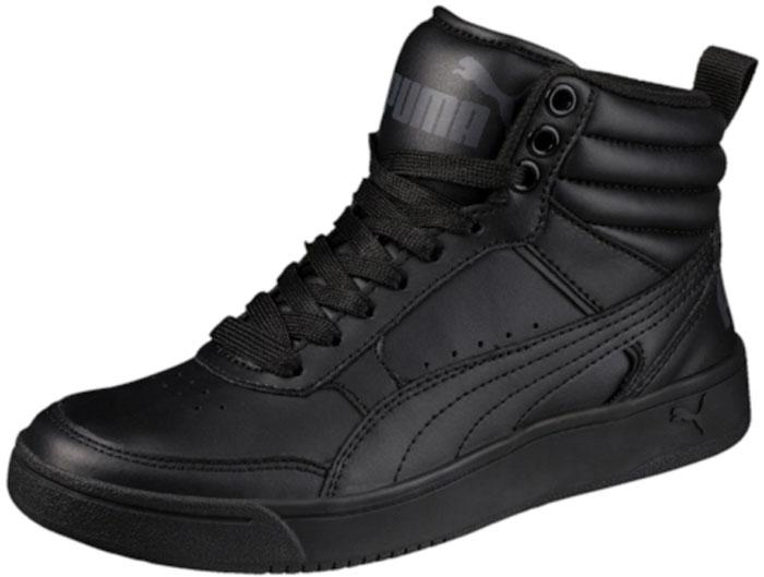 Кеды для мальчика Puma Rebound Street V2 L Jr, цвет: черный. 36391301. Размер 6 (38)36391301Кроссовки PUMA Rebound Street V2 L Jr - классическая модель завышенных кроссовок, пришедшая в коллекцию универсальной уличной обуви из мира баскетбола и получившая новую жизнь. Кожаный верх плотно охватывает ногу, создавая полную поддержку. Пружинящая прочная резиновая подошва с волнистым рельефом обеспечивает свободу движений даже при резких поворотах на скользкой поверхности. Завышенный задник с броским логотипом PUMA усиливает защиту пятки и придает модели спортивный и динамичный облик.