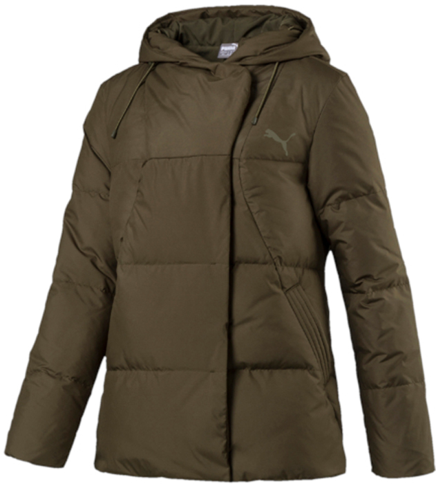 Пуховик женский Puma Style 480 HD Down Jacket, цвет: темно-зеленый. 59242414. Размер XXL (50/52)