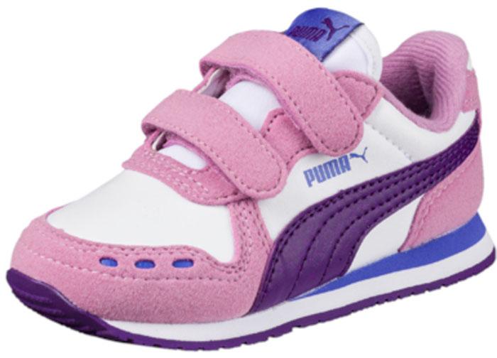 Кроссовки для девочки Puma Cabana Racer SL V PS, цвет: белый, розовый. 36073253. Размер 2,5 (34) puma кроссовки drift cat 5 l bmw nu v ps