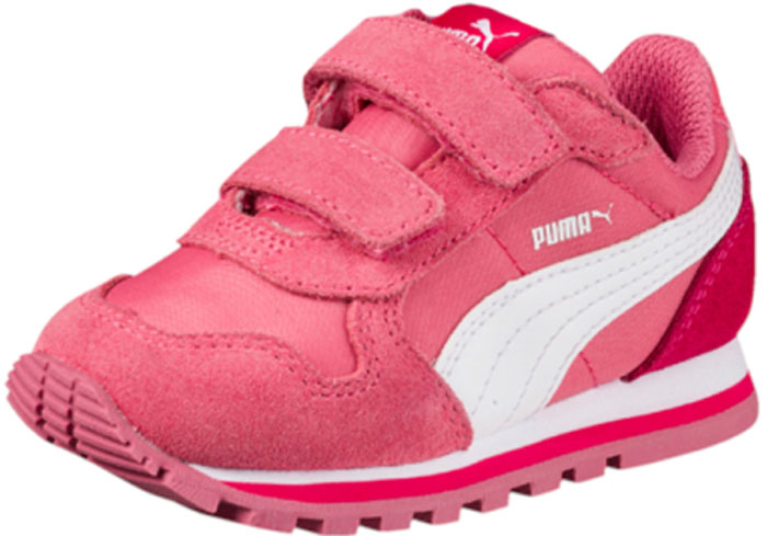 Кроссовки для девочки Puma ST Runner NL V PS, цвет: розовый. 36073720. Размер 13 (31)36073720Разработанные в лучших традициях PUMA кроссовки серии ST Runner NL V PS - идеальный вариант для прогулок и активного отдыха. Верхняя часть обуви из высококачественного нейлона с мягкими замшевыми вставками и накладками обеспечивает комфорт и прекрасную посадку по ноге. ST Runner NL V PS – это неповторимый дизайн, новое прочтение классической традиции и прекрасное дополнение к стильному повседневному гардеробу.