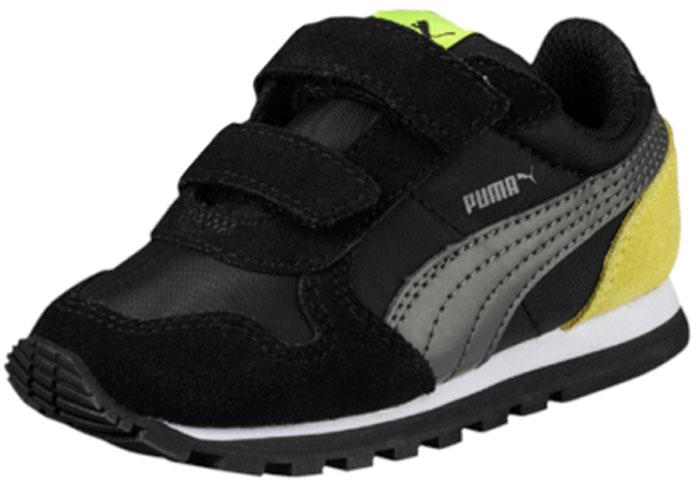 Кроссовки для мальчика Puma ST Runner NL V PS, цвет: черный, серый, желтый. 36073719. Размер 13 (31)36073719Разработанные в лучших традициях PUMA кроссовки серии ST Runner NL V PS - идеальный вариант для прогулок и активного отдыха. Верхняя часть обуви из высококачественного нейлона с мягкими замшевыми вставками и накладками обеспечивает комфорт и прекрасную посадку по ноге. ST Runner NL V PS – это неповторимый дизайн, новое прочтение классической традиции и прекрасное дополнение к стильному повседневному гардеробу.