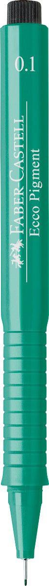 Faber-Castell Ручка капиллярная Ecco Pigment 0.1 цвет чернил зеленый 166163166163Капиллярная ручка Faber-Castell Ecco Pigment идеальна для письма, рисования, набросков. Пигментные водо- и светоустойчивые чернила позволяют рисовать с линейкой и по шаблону. Длинный кончик с металлическим корпусом, эргономичная область захвата, металлический клип.