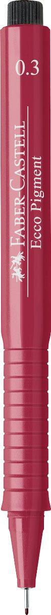 Faber-Castell Ручка капиллярная Ecco Pigment 0.3 цвет чернил красный 166321166321Капиллярная ручка Faber-Castell Ecco Pigment идеальна для письма, рисования, набросков. Пигментные водо- и светоустойчивые чернила позволяют рисовать с линейкой и по шаблону. Длинный кончик с металлическим корпусом, эргономичная область захвата, металлический клип.