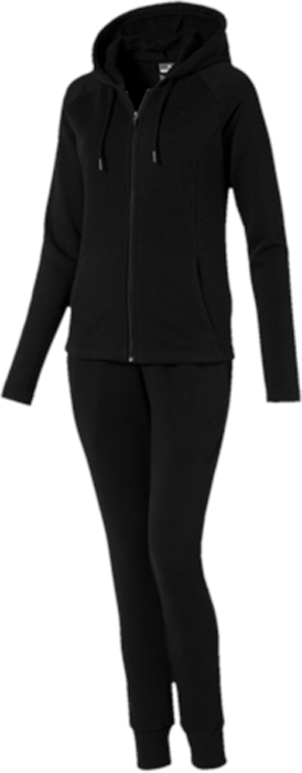 Спортивный костюм женский Puma Classic Sweat Suit cl, цвет: черный. 59250201. Размер XL (48/50)59250201Спортивный костюм от Puma состоит из толстовки и брюк.Толстовка декорирована вышитым логотипом Puma. Объем и форма капюшона регулируются затягивающимся шнуром. Карманы в боковых швах удобны и вместительны. Изделие имеет удобную стандартную посадку.Брюки декорированы вышитым логотипом Puma. Карманы в боковых швах удобны и вместительны. Пояс посажен на подкладку из эластичного материала. Манжеты по низу штанин отделаны трикотажем в резинку. Штанины заужены.