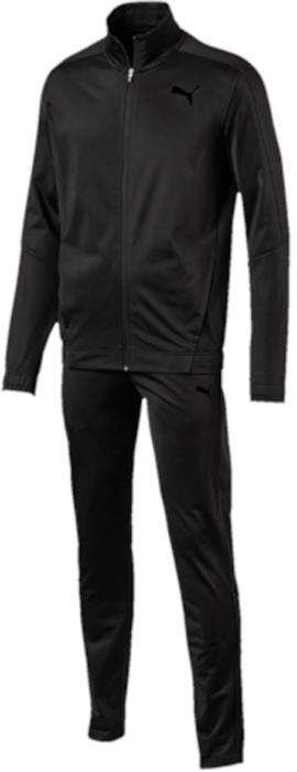 Спортивный костюм мужской Puma Techstripe Tricot Suit op, цвет: черный. 59263601. Размер XL (50/52)59263601Спортивный костюм от Puma состоит из толстовки и брюк.Толстовка декорирована логотипом Puma, нанесенным методом пигментной печати. Функциональный фирменный покрой рукавов обеспечивает полную свободу движений и легкость сгибания и разгибания руки в локте. Боковые карманы вместительны и удобны. Пояс и манжеты посажены на подкладку из эластичного материала. Изделие имеет удобную стандартную посадку.Брюки декорированы логотипом Puma, нанесенным методом пигментной печати. Пояс из эластичного материала снабжен затягивающимся шнуром для лучшей посадки по фигуре. Изделие имеет удобную стандартную посадку, но при этом штанины с манжетами заужены, что в сочетании со вставками контрастного цвета придает модели оригинальный облик.