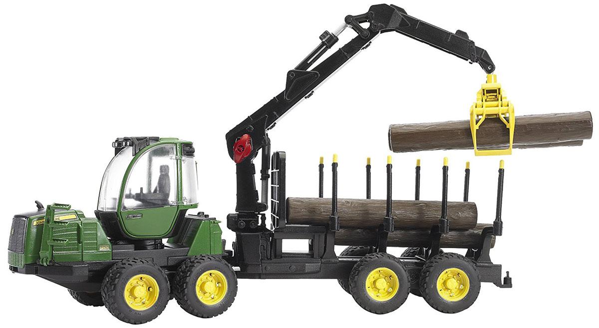 Bruder Трактор John Deere 1210E с прицепом с манипулятором и бревнами бу двигатель на трактор