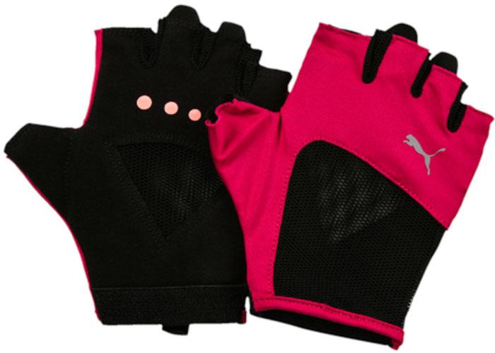 Перчатки для фитнеса женские Puma Gym Gloves, цвет: малиновый, черный. 04126507. Размер M (9)04126507Удобные и прочные перчатки из мягкой замши с набивкой на ладони и большом пальце. Благодаря эластичной манжете перчатки удобно снимать и надевать.