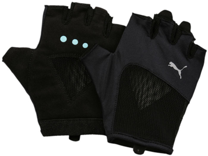 Перчатки для фитнеса женские Puma Gym Gloves, цвет: черный. 04126506. Размер S (8)04126506Удобные и прочные перчатки из мягкой замши с набивкой на ладони и большом пальце. Благодаря эластичной манжете перчатки удобно снимать и надевать.