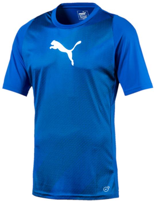 Футболка мужская Puma ftblTRG Graphic Shirt, цвет: голубой. 65535550. Размер XXL (52/54)65535550Модель декорирована логотипом Puma, нанесенным на правую сторону груди методом термопечати. Она изготовлена с использованием высокофункциональной технологии DryCell, которая отводит влагу, поддерживает тело сухим и гарантирует комфорт во время активных тренировок и занятий спортом. Фасон в обтяжку по фигуре оживляется вставками с графическим рисунком. Отделка спины сетчатым материалом обеспечивает отличную вентиляцию и препятствует перегреву.