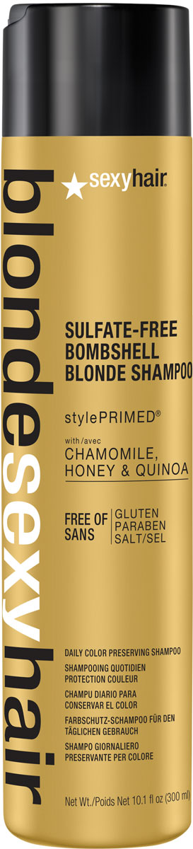 Sexy Hair Кондиционер для сохранения цвета без сульфатов, BLSH Bombshell Blonde Conditioner, 300 мл39CON10Роскошный Кондиционер для ежедневного ухода для осветленных, мелированных и седых волос. Укрепляет волосы, защищает от повреждений и появления секущихся кончиков. Специально разработанная технология Perfect-Balance Technology с экстрактом ромашки, меда и киноа смягчает, увлажняет волосы, предохраняет от выгорания, делает волосы мягкими и сияющими. Без сульфатов, глютена, парабенов, солей.Уважаемые клиенты!Обращаем ваше внимание на возможные изменения в дизайне упаковки. Качественные характеристики товара остаются неизменными. Поставка осуществляется в зависимости от наличия на складе.