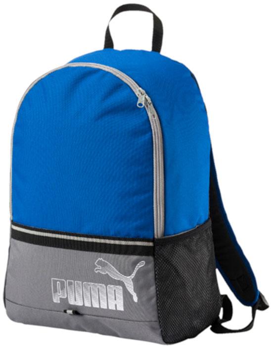 Рюкзак Puma Phase Backpack II, цвет: голубой, серый, 23 л. 0744130807441308Удобный и вместительный рюкзак Puma Phase Backpack II имеет главное отделение на двухзамковой молнии, функциональную подкладку из полиэстера с изнанкой из полиуретана, правый боковой карман из сетчатого материала и ручку из лямочной ленты. Обращенная к спине часть рюкзака отстрочена и имеет мягкую подложку. Закругленные наплечные лямки регулируемой длины с мягкой подложкой снабжены петлями из светоотражающего материала с символикой Puma, которая также представлена на металлических язычках застежек-молний и в виде набивного логотипа Puma спереди. Кроме того, лицевая сторона рюкзака отделана тесьмой из светоотражающего материала.