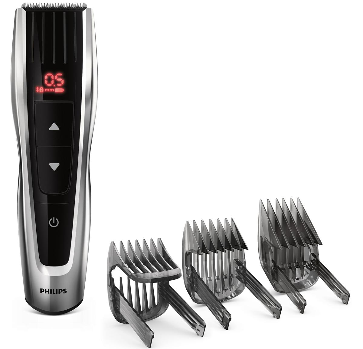 Philips HC7460/15 беспроводная машинка для стрижки волос с 60 установками длиныHC7460/15Машинка для стрижки волос Philips HC7460/15 обеспечивает точную и удобную стрижку одним нажатием. Благодаря движущимся гребням и высококачественному режущему блоку результаты всегда будут идеальными.Кнопки управления:Интуитивно понятный интерфейс обеспечивает точный выбор длины. Кнопки предназначены для удобного выбора и фиксации более 60 настроек длины: вы можете быстро просмотреть все настройки или подобрать нужную, выполнив прокрутку с минимальным шагом 0,2 мм.60 установок длины (от 0,5 до 42 мм) легко выбрать и зафиксировать:Гребень обеспечивает точное подравнивание благодаря наличию более 60 установок: с шагом 0,2 мм (для установок от 1 до 7 мм) и с шагом 1 мм (для установок от 7 до 42 мм). Прибор можно использовать без гребня для подравнивания до минимальной длины 0,5 мм.Самозатачивающиеся лезвия из нержавеющей стали долго остаются острыми.Автоматический турборежим для увеличения скорости стрижки:Турборежим автоматически увеличивает скорость работы прибора при подравнивании густых волос, позволяя добиться идеального результата.Режущий блок с двойной заточкой обеспечивает в два раза более быструю стрижку:Усовершенствованная технология DualCut — это режущий блок с двойной заточкой и низким коэффициентом трения. Корпус из стали обеспечивает дополнительную надежность, а инновационный режущий блок гарантирует в два раза более быструю стрижку по сравнению с обычными машинками Philips.120 минут автономной работы после зарядки в течение 1 часа:Машинка для стрижки может работать в беспроводном режиме для максимального удобства и свободы движений. Мощный литий-ионный аккумулятор обеспечивает до 120 минут работы после 1 часа зарядки. Питание от сети и от аккумулятора.