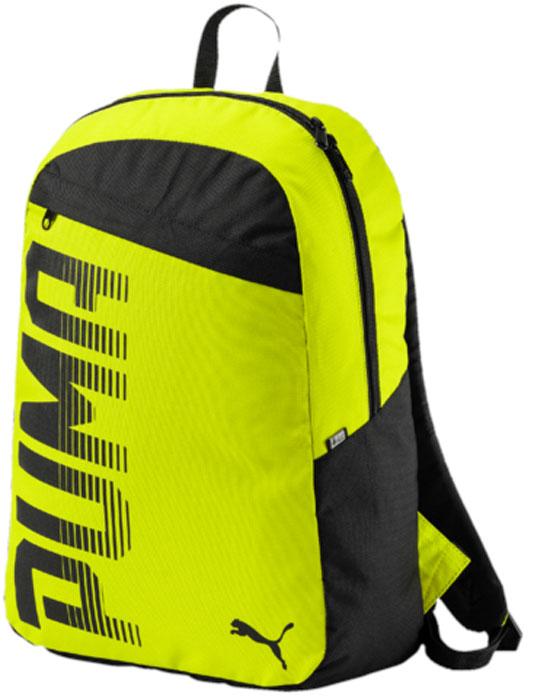 Рюкзак Puma Pioneer Backpack I, цвет: желтый, 24 л. 0747140607471406Удобный и функциональный рюкзак Puma Pioneer Backpack I имеет главное отделение на двухзамковой молнии, дополненное отделением для ноутбука с подложкой, лицевой карман на молнии, функциональную подкладку из полиэстера с изнанкой из полиуретана и ручку из лямочной ленты. Обращенная к спине часть рюкзака отстрочена и имеет мягкую подложку. Закругленные наплечные лямки регулируемой длины с мягкой подложкой отстрочены и снабжены петлями из светоотражающего материала с логотипами Puma. Также символика Puma представлена на металлических язычках застежек-молний и в форме графического набивного рисунка спереди, объединяющего логотип и надпись Puma. Справа рюкзак отделан тесьмой из светоотражающего материала с логотипом Durabase.