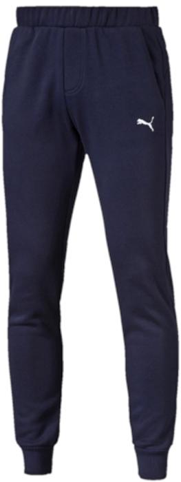 Брюки спортивные мужские Puma ESS Sweat Pants Slim, Fl, цвет: темно-синий. 83826606. Размер XXL (52/54)83826606Спортивные брюки Puma ESS Sweat Pants Slim, Fl выполнены из мягкого трикотажа, флисовая внутренняя отделка. Модель декорирована вышитым логотипом Puma. Среди других отличительных особенностей изделия - пояс из его основного материала с продернутым затягивающимся шнуром, карманы в швах, нашитая сверху задняя кокетка для лучшей посадки в обтяжку по фигуре, а также отделка манжет по низу штанин трикотажем в резинку.