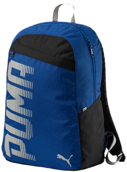 Рюкзак Puma Pioneer Backpack I, цвет: синий, 24 л. 0747140207471402Удобный и функциональный рюкзак Puma Pioneer Backpack I имеет главное отделение на двухзамковой молнии, дополненное отделением для ноутбука с подложкой, лицевой карман на молнии, функциональную подкладку из полиэстера с изнанкой из полиуретана и ручку из лямочной ленты. Обращенная к спине часть рюкзака отстрочена и имеет мягкую подложку. Закругленные наплечные лямки регулируемой длины с мягкой подложкой отстрочены и снабжены петлями из светоотражающего материала с логотипами Puma. Также символика Puma представлена на металлических язычках застежек-молний и в форме графического набивного рисунка спереди, объединяющего логотип и надпись Puma. Справа рюкзак отделан тесьмой из светоотражающего материала с логотипом Durabase.