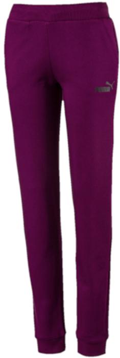 Брюки спортивные женские Puma ESS No.1 Sweat Pants FL, цвет: темно-фиолетовый. 83842529. Размер L (46/48)83842529Модель декорирована прорезиненным логотипом Puma и посажена на пояс из трикотажа в рубчик с затягивающимся шнуром. Сплошные манжеты по низу штанин отделаны трикотажем в резинку. Изделие имеет удобную стандартную посадку.