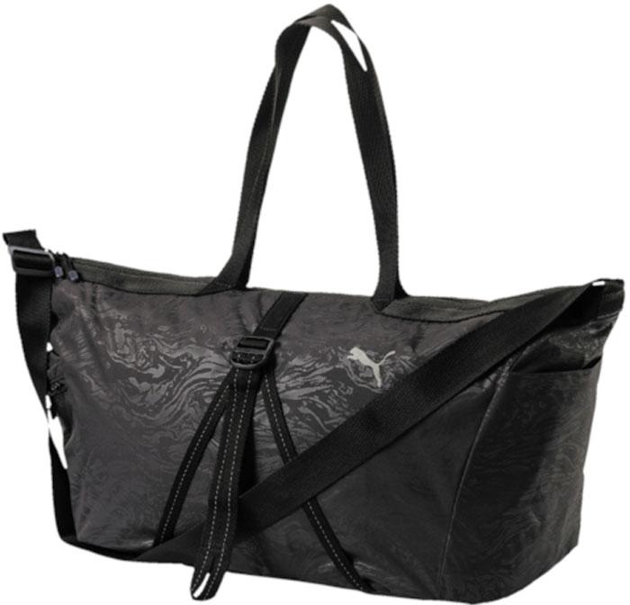 Сумка женская Puma Fit At Workout Bag, цвет: черный, 22 л. 0747020107470201Удобная и вместительная сумка оригинального фасона имеет главное отделение на молнии, открывающейся с двух сторон, боковой карман слева на молнии, накладной карман справа, ремни из тесьмы регулируемой длины спереди, используемые для того, чтобы пристегнуть к сумке коврик для занятий йогой. Кроме того, сумка имеет накладной эластичный карман внутри, карман на молнии внутри из материала подкладки, функциональную подкладку из полиэстера, две ручки для переноски сумки на плече или в руках из плотной тесьмы и лямку через плечо из плотной тесьмы регулируемой длины с пластиковой фурнитурой. Металлические язычки застежек-молний снабжены петлями из тесьмы с символикой Puma, которая также представлена в виде набивного логотипа Puma на передней части сумки.