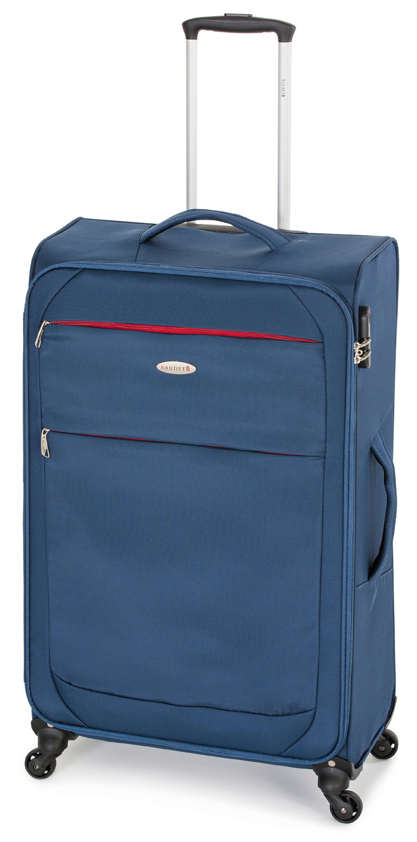 Чемодан Baudet, на колесах, цвет: синий, красный, 61 х 42 х 23 см, 59 л