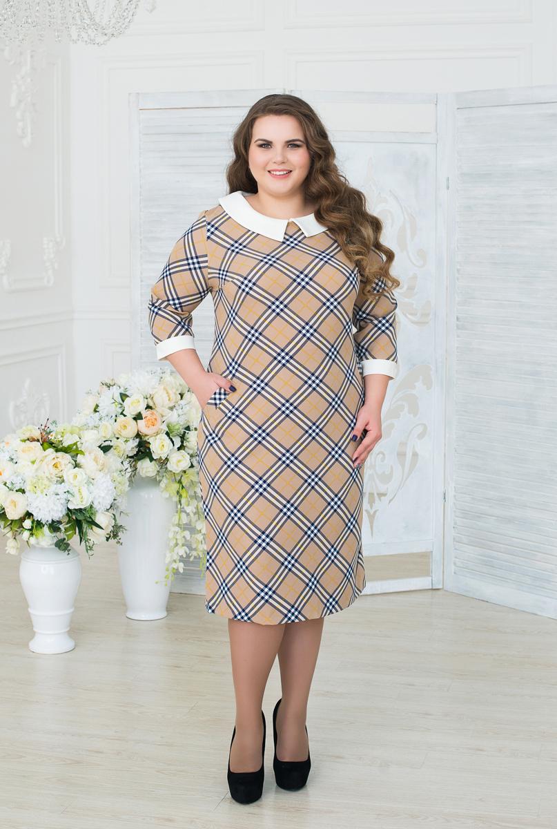 Платье женское Fill, цвет: бежевый, синий, белый. ФИЛ-177-1008-2-13. Размер 52ФИЛ-177-1008-2-13Платье с длинными рукавами Fill приталенного кроя выполнено из высококачественного материала и оформлено принтом в клетку. Модель миди-длины с круглым вырезом горловины должно быть в гардеробе каждой модницы. Сочетая в себе два стиля, платье дополнено выразительным воротничком, а клетка придает силуэту стройность.