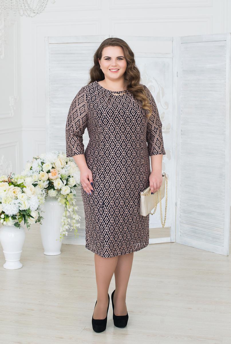 Платье женское Fill, цвет: коричневый. ФИЛ-255-838-4-005 . Размер 50ФИЛ-255-838-4-005Особенностью данной модели можно назвать ее роскошность и то, как оно сидит при носке. Уникальная модель навевает мысли о походе в театр или мюзикл.