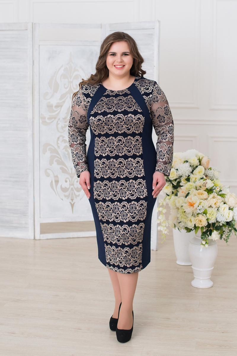 Платье женское Fill, цвет: синий, золотистый. ФИЛ-280г-6234002-57. Размер 60ФИЛ-280г-6234002-57Модель сочетает в себе строгость стиля и игривость, модель исполнена в гипюровой тематике, что придает пикантность данной модели.
