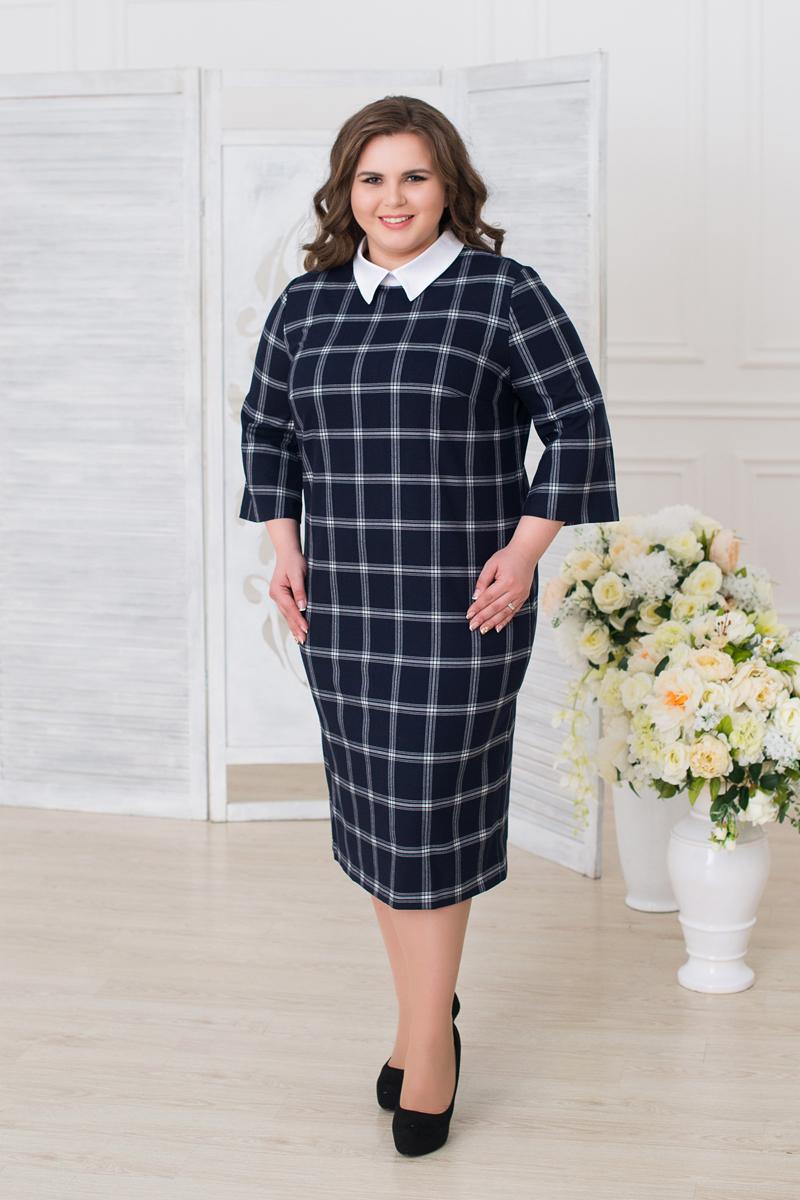 Платье женское Fill, цвет: синий, белый. ФИЛ-281-6131-1-100213. Размер 52ФИЛ-281-6131-1-100213Данное платье должно быть в гардеробе каждой модницы. Сочетая в себе два стиля, дополнен выразительным воротничком, а клетка придает силуэту стройность.