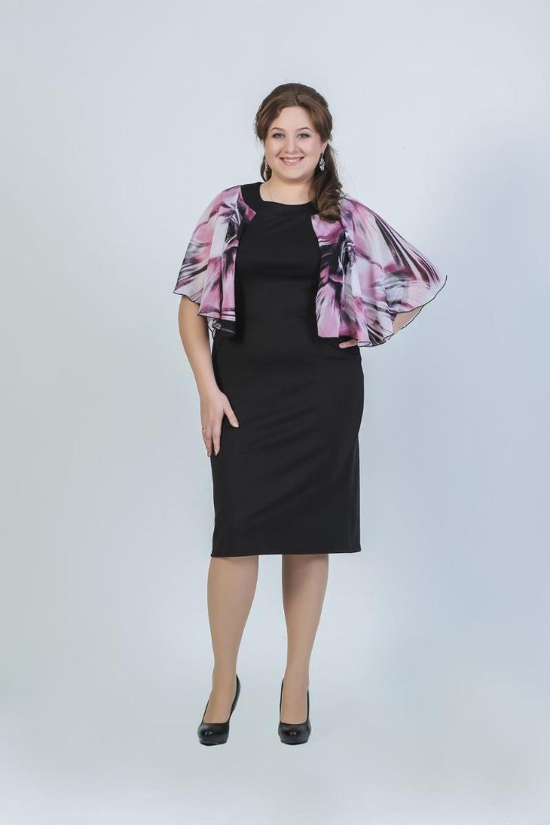 Платье женское Fill, цвет: черный, розовый, белый. ФИЛ-170001-11-13. Размер 48ФИЛ-170001-11-13Особенностью данной модели можно назвать ее роскошность и легкость. Уникальная модель навевает мысли о походе в театр или мюзикл.