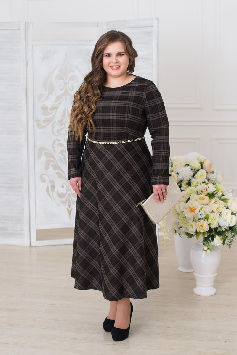Платье женское Fill, цвет: коричневый, серый. ФИЛ-279005-4. Размер 48ФИЛ-279005-4Утонченная модель с игривым пояском, подчеркнет Вашу талию и подойдет, как для повседневной носки, так и для торжественного выхода на праздник жизни.
