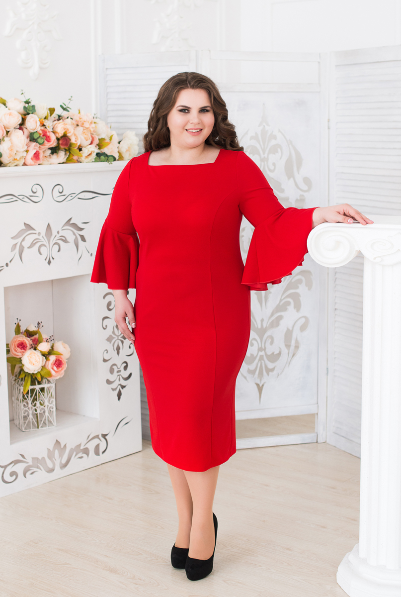 Платье женское Fill, цвет: красный. ФИЛ-292009. Размер 48ФИЛ-292009Платье с длинными рукавами Fill приталенного кроя выполнено из высококачественного материала. Модель миди-длины с квадратным вырезом горловины должно быть в гардеробе каждой модницы. Модель сочетает в себе строгость стиля и игривость, исполнено в ярких тонах и подчеркивает вашу индивидуальность.