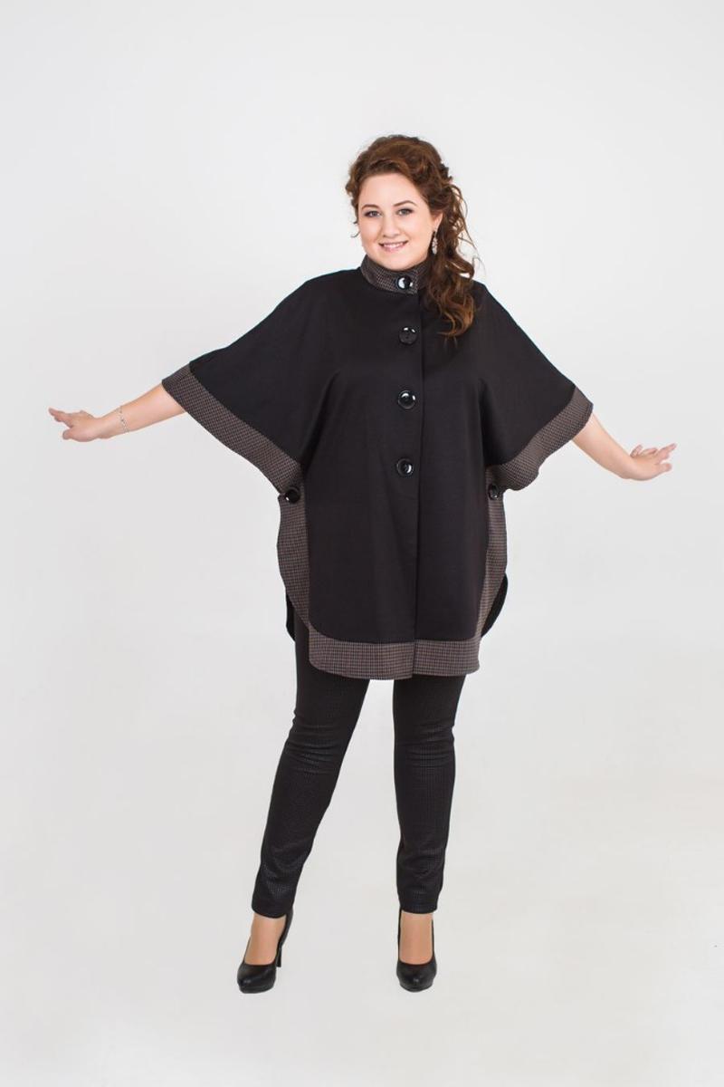Пончо женское Fill, цвет: черный, коричневый . ФИЛ-М-121001-5. Размер 54ФИЛ-М-121001-5Данная модель сочетает в себе строгость стиля и легкость. Подойдет, как для повседневной носки, так и для торжественного выхода.