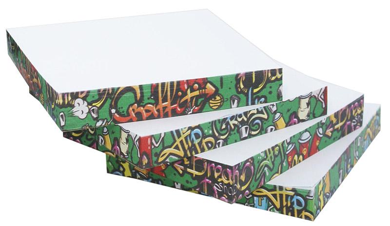 Фолиант Комплект блоков для записей Граффити 13 х 13 см 4 блока по 200 листовБЗТ-130НО/7Комплект блоков для записей Фолиант Граффити идеально подходит для быстрой фиксации информации. В комплекте: 4 блока. Блок бумаги изготовлен на картонной подложке, листы проклеены по торцу. В каждом блоке по 200 листов. Благодаря специальной проклейке, листы блока не рассыпаются. Порядок на столе гарантирован. Многокрасочная печать на торцах блока добавит вам хорошего настроения.Особенности - многокрасочная печать на торцах блока; листы склеены в блок.