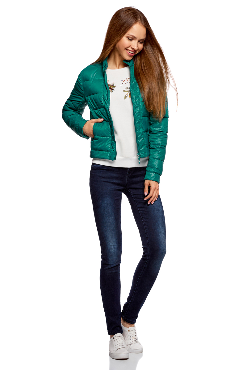 Куртка женская oodji Ultra, цвет: темно-изумрудный. 10203038-5B/33445/6E00N. Размер 42-170 (48-170)10203038-5B/33445/6E00NКуртка женская oodji Ultra выполнена из полиамида. Модель с длинными рукавами застегивается на застежку-молнию и кнопку.