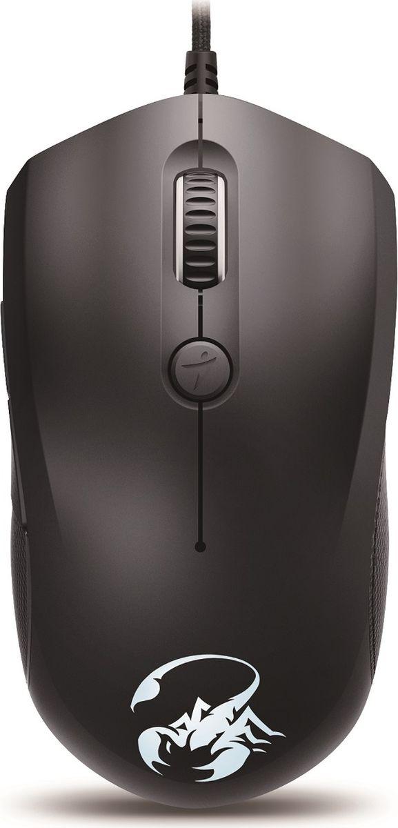 Genius Scorpion M6-600, Black мышь игровая31040063101Форма мыши Genius Scorpion M6-600 отлично подходит как для правой, так и для левой руки. Мышь естественным образом ложится в ладонь любого размера. Удобное прорезиненное покрытие для полного контроля и комфорта в долгих игровых сеансах.С помощью кнопки переключения можно выбрать один из уровней разрешения (800,1600,2400, 3200 или 5000 DPI), не прерывая игры. Переключение между текущим и следующим разрешением одним нажатием кнопки.Настройте кнопки с игровым оружием и настройте производительность, чтобы улучшить игровой процесс. Настройки профиля для различных игровых приложений могут быть активированы автоматически.С помощью 24 ячеек памяти для макросов шести программируемым кнопкам можно назначить одну или несколько команд, что значительно повысит уровень игры.Легкая подсветка колеса прокрутки и логотипа Scorpion с использованием семи цветов автоматически отключается при обнаружении движения.