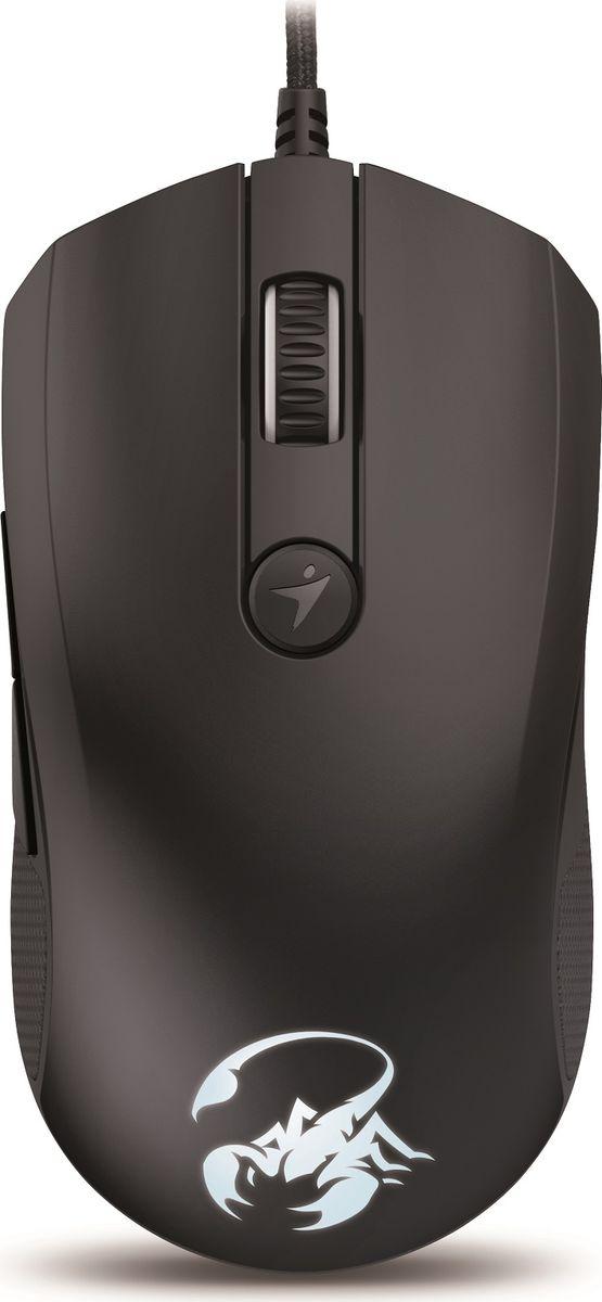 Genius Scorpion M8-610, Black мышь игровая31040064101Благодаря мощному лазерному датчику вы сможете играть на большинстве поверхностей, включая запыленное стекло, а также гладкие и матовые рабочие столы. Genius Scorpion M8-610 обеспечивает максимальную чувствительность и повышает эффективность в играх, где бы вы ни находились.Конструкция Genius Scorpion M8-610 отлично подходит как для правой, так и для левой руки. Естественно ложится в ладонь любого размера. Удобное прорезиненное покрытие для полного контроля и комфорта в долгих игровых сеансах.С помощью кнопки переключения можно выбрать один из уровней разрешения (800,2400,4800, 6400 или 8200 DPI), не прерывая игры. Переключение между текущим и следующим разрешением одним нажатием кнопки.Настройка 6 программируемых кнопок. С помощью 24 ячеек памяти для макросов шести программируемым кнопкам можно назначить одну или несколько команд, что значительно повысит уровень игры.
