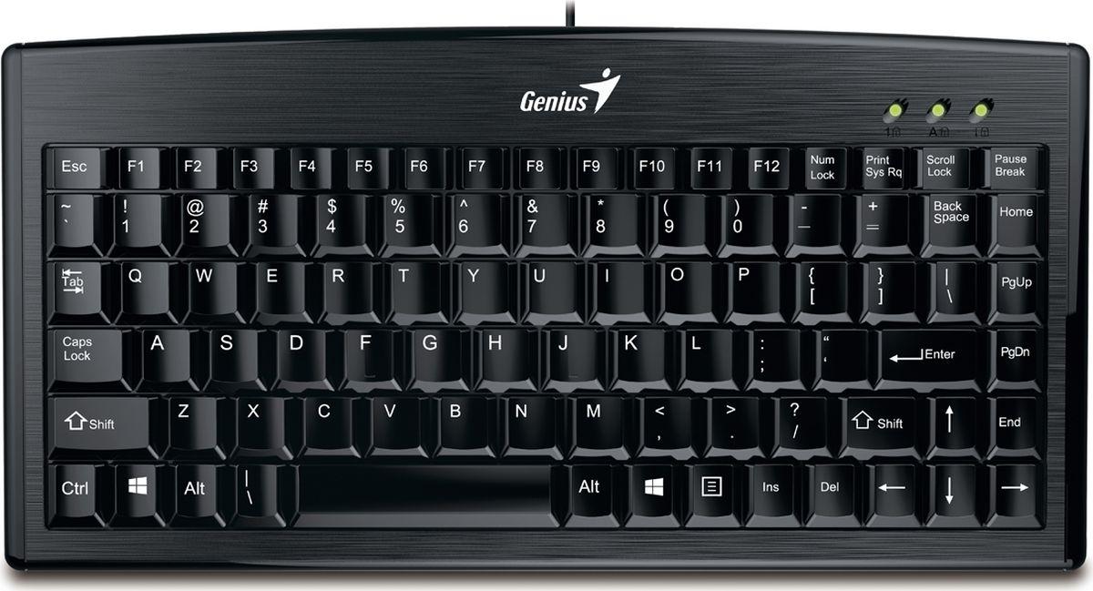 Genius LuxeMate 100, Black клавиатура31300725102Genius LuxeMate 100 - удобная тонкая клавиатура, которая прекрасно подходит для работы в Windows. Гладкие низкопрофильные клавиши нажимаются мягко и тихо.Клавиши устройства относятся к мембранному типу. Присутствует блок цифровых кнопок, над которым находятся световые индикаторы. Подключение к компьютеру производится с помощью USB-интерфейса.Регулировка наклона клавиатуры обеспечивает дополнительное удобство.