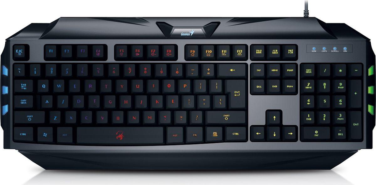 Genius Scorpion K5, Black клавиатура игровая31310469102Клавиши игровой клавиатуры Scorpion K5 вдвое ниже клавиш на обычной клавиатуре и имеют мягкие удобные накладки. Они рассчитаны на 10 миллиона нажатий. С ней любой новичок почувствует себя профессионалом. Клавиатура имеет полную светодиодную подсветку с использованием семи цветов и возможностью выбора одного из четырех уровней яркости, в том числе полного отключения. Идеально для работы в неосвещенной комнате. Не нужно нажимать одну и ту же клавишу много раз для многократного выполнения команд. Игровая клавиатура Scorpion K5 позволяет выбирать частоту повтора (80, 60 или 40 символов в секунду) нажатием кнопок FN + F1, F2 или F3. Для оптимизации действий в игре клавиатура поддерживает возможность одновременного нажатия 19 клавиш, так что вы сможете назначить массу сочетаний клавиш для выполнения команд. Просто нажмите FN + F12, чтобы быстро отключить клавишу Windows. Так вы сможете играть, не боясь случайно нажать клавишу Windows и прервать игру.Как выбрать игровую клавиатуру. Статья OZON Гид
