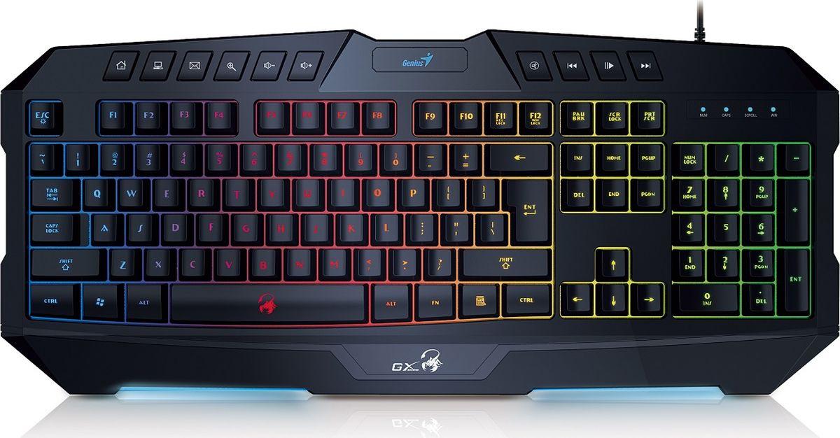 Genius Scorpion K20, Black клавиатура игровая31310471102Не нужно нажимать одну и ту же клавишу много раз для многократного выполнения команд. Игровая клавиатура Scorpion K20 позволяет выбирать частоту повтора (21, 30 или 62 символов в секунду) нажатием кнопок FN + F1, F2 или F3. 4типа подсветки с использованием семи цветов: полная светодиодная (100 %), полная светодиодная (60 %), полная светодиодная (легкая). Клавиатура полностью подсвечивается регулируемыми синими светодиодами, так что вы сможете играть при любом освещении. 10 мультимедийных функциональных клавиш, драйвер не требуется. Возможность одновременного нажатия до 26 клавиш для идеального управления в игре. Благодаря специальной конструкции клавиши стали еще прочнее, мягко нажимаются, четче реагируют на нажатия и дают отличную тактильную отдачу.