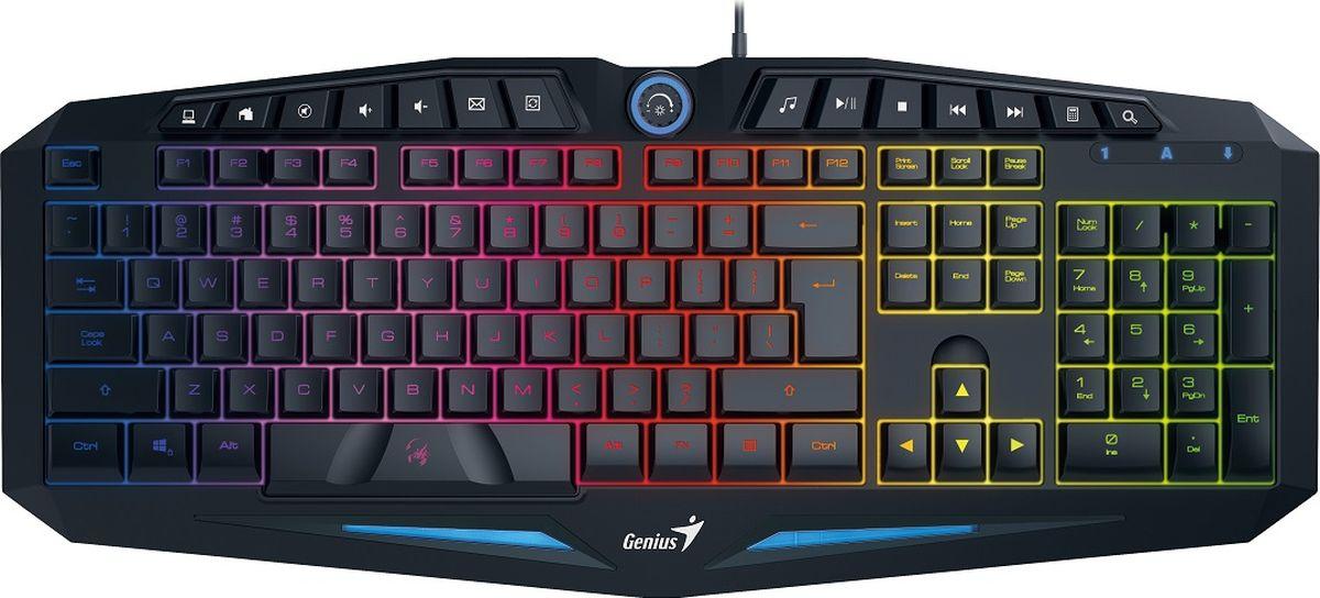 Genius Scorpion K9, Black клавиатура игровая31310472102Благодаря сочетаниям клавиш клавиатуры Scorpion K9 геймеры могут быстро управлять функциями медиаплеера, такими как повышение/понижение уровня звука, пауза/воспроизведение и перемотка вперед/назад, а также открывать электронную почту и рабочий стол, не отвлекаясь от игры. Играйте эффективно с максимальным удобством! Благодаря подсветке с использованием семи цветов геймеры могут играть даже в неосвещенных комнатах. Подсветка статична, а для регулировки яркости используется диск в центре верхней части клавиатуры. В клавиатуре Scorpion K9 используются уникальные S-образные клавиши с лазерной гравировкой. Благодаря им геймеры получают прекрасную тактильную отдачу от каждого нажатия. Клавиатура K9 рассчитана на 10 миллионов нажатий, благодаря чему подойдет очень активным игрокам. Scorpion K9 позволяет одновременно нажимать до 19 клавиш, обеспечивая настройку самых разных сочетаний клавиш. Геймеры могут настроить выполнение разных команд и действий и запускать их точно в нужное время. Клавиатура Scorpion K9 имеет полностью эргономичную конструкцию, чтобы геймеры чувствовали себя комфортно, и снижает усталость при длительной игре.
