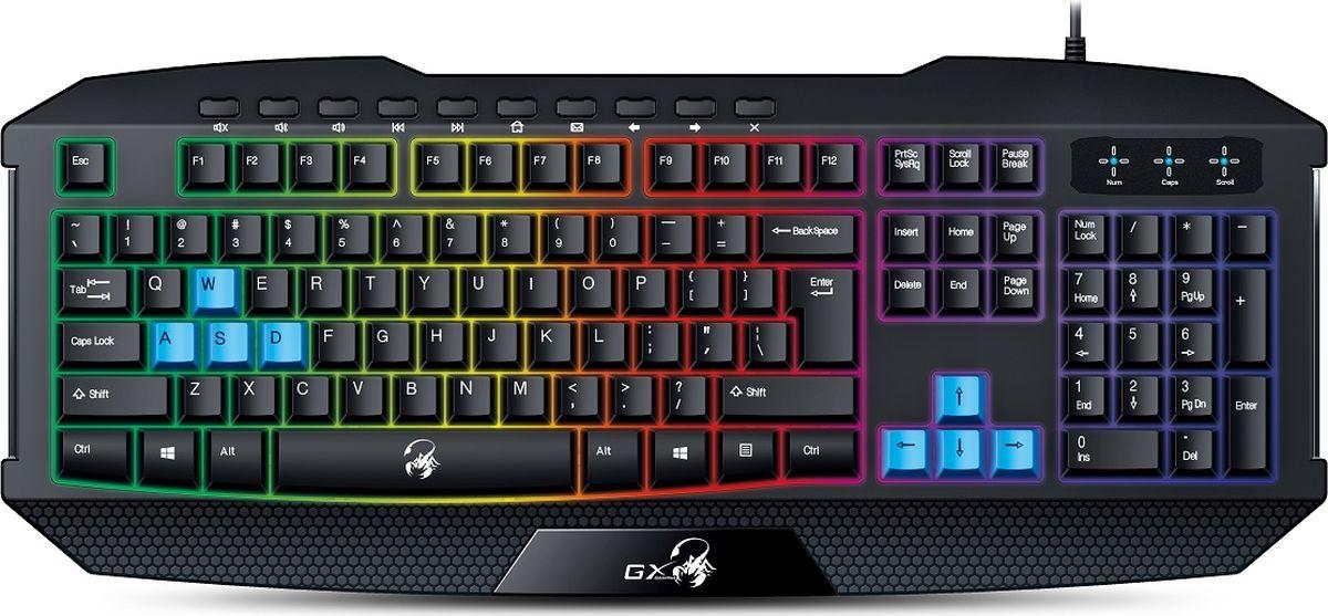 Genius Scorpion K215, Black клавиатура игровая31310474103Мерцающая радужная подсветка. Клавиши игровой клавиатуры Scorpion K215 вдвое ниже клавиш на обычной клавиатуре и имеют мягкие удобные накладки. Они рассчитаны на 2 миллиона нажатий. С ней любой новичок почувствует себя профессионалом. 10 мультимедийных клавиш позволяют быстро управлять клавиатурой, не отвлекаясь от игры. Прочная конструкция с усиленными клавишами и защитой от брызг.