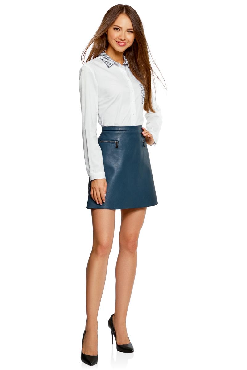Рубашка женская oodji Ultra, цвет: белый. 11403205-10/26357/1079B. Размер 40-170 (46-170)