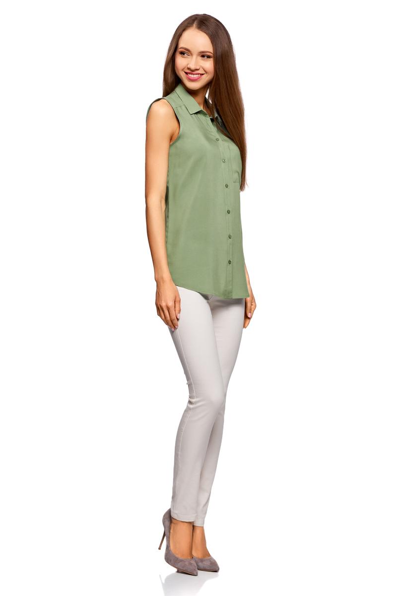Блузка женская oodji Ultra, цвет: зеленый. 11411108B/26346/6200N. Размер 38-170 (44-170) oodji 11411123 26346 7975d