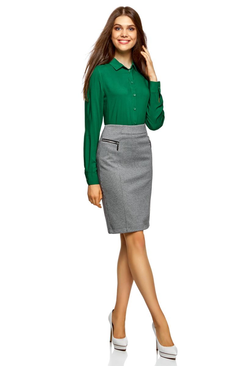 Блузка женская oodji Ultra, цвет: темно-изумрудный. 11411136B/26346/6E00N. Размер 38-170 (44-170) блузка женская oodji ultra цвет черный 11411136b 26346 2900n размер 44 50 170