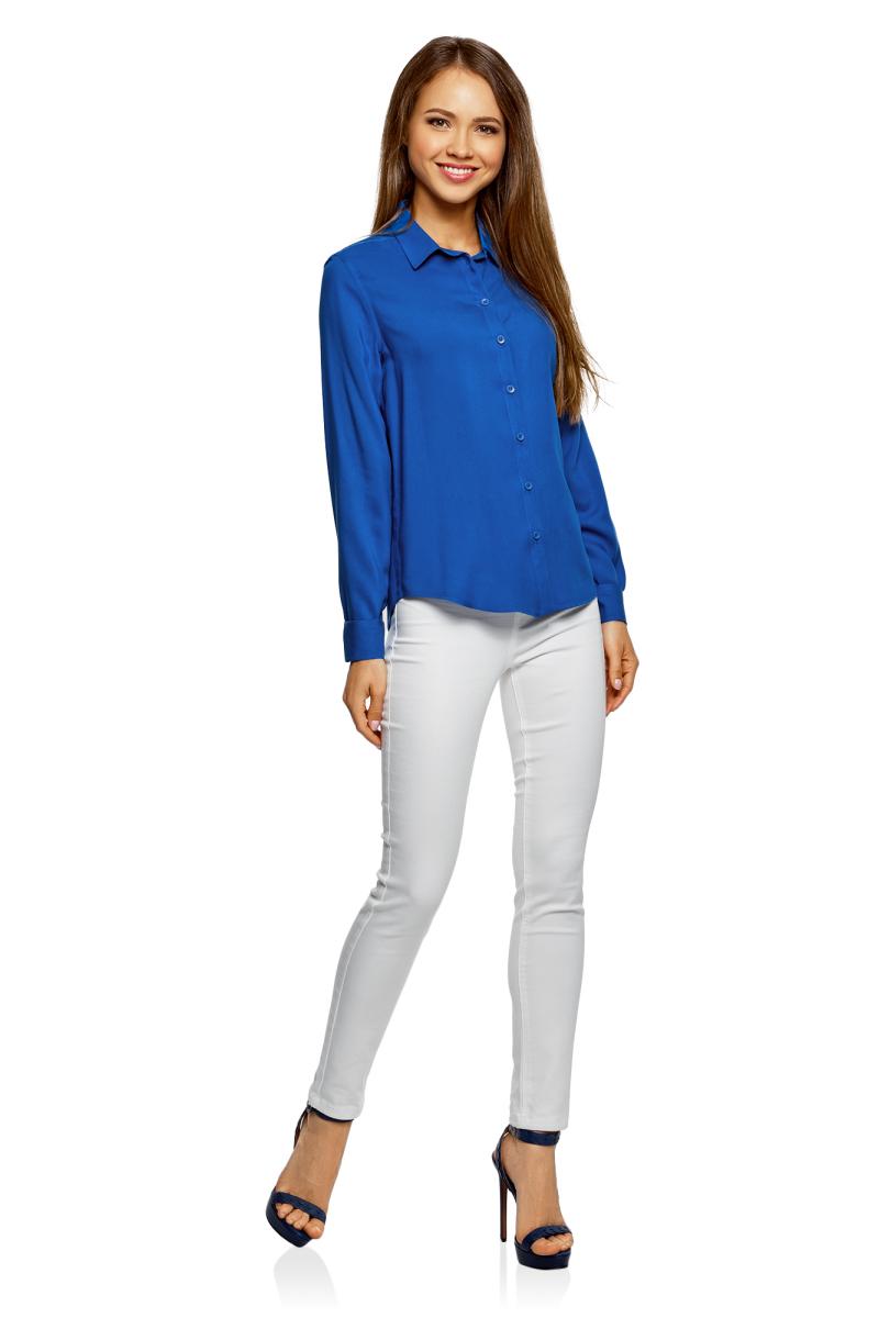 Купить Блузка женская oodji Ultra, цвет: ярко-синий. 11411136B/26346/7501N. Размер 36-170 (42-170)
